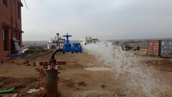 Water boring at site