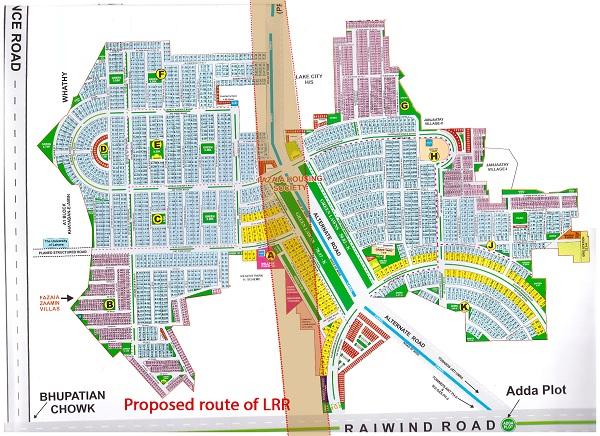 Fazaia Housing Scheme Rai Wind Road - Lahore proposed route