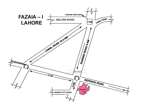 location map of Fazaia Housing Scheme Lahore