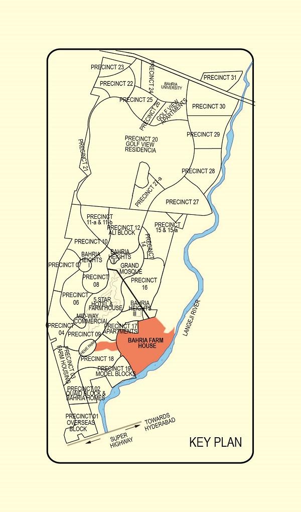 Location Map of Bahria Farmhouses