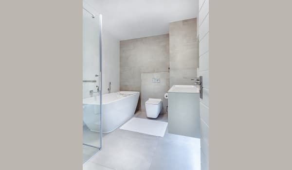 large washroom fitted with a tub