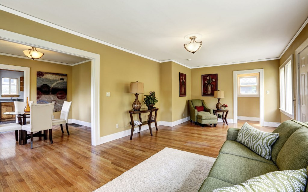 living space is divided into different rooms in a broken floor plan