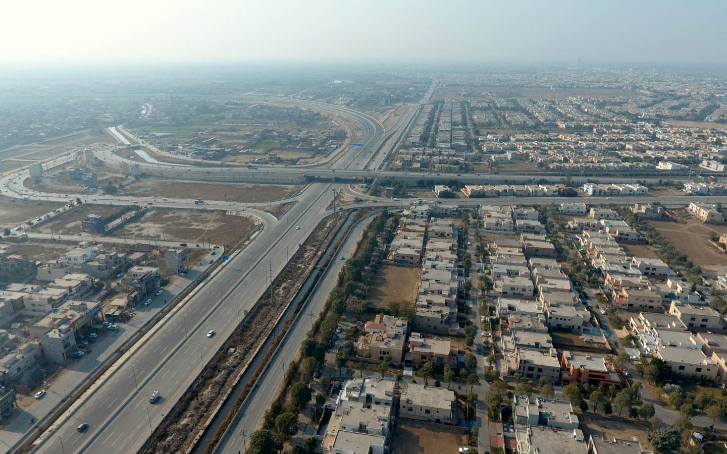 Aerial view of Ring Road near DHA Defence Lahore