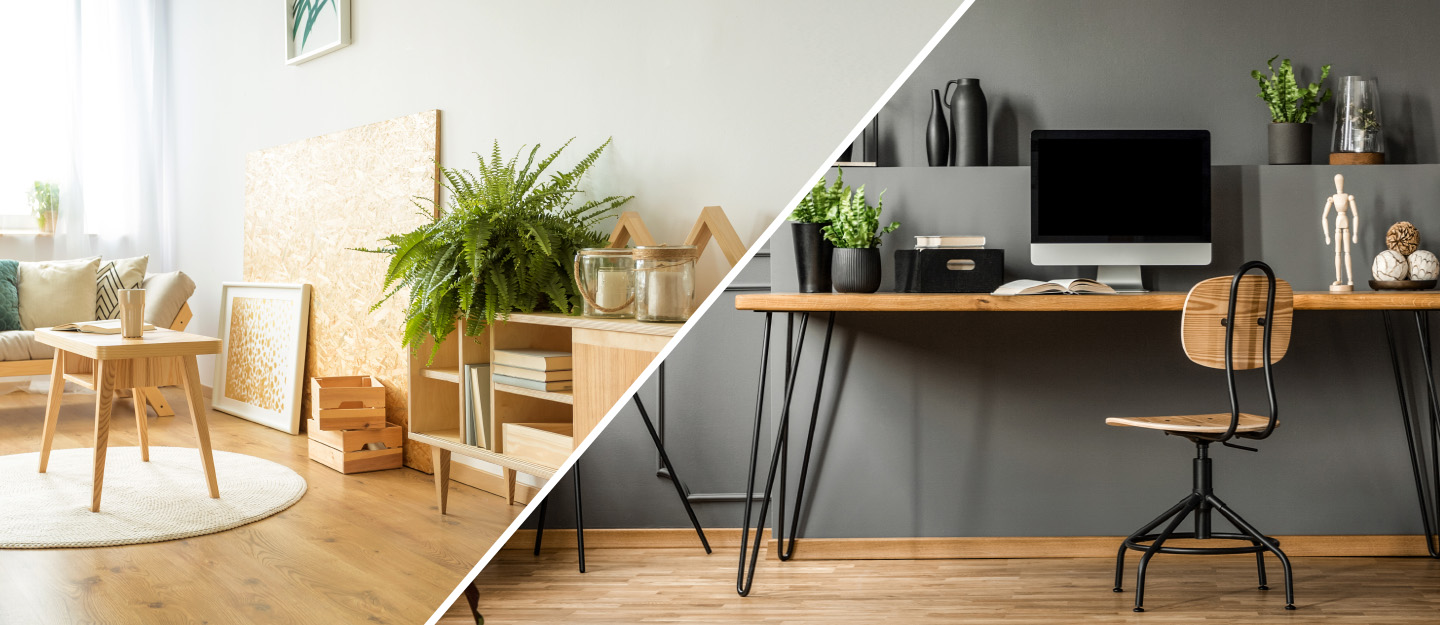 Contrast of Wooden and Metallic Furniture