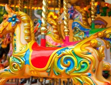 Merry go round in an amusement park