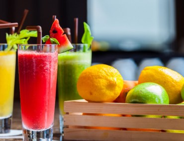 Fresh Fruit Juices Served in Glasses