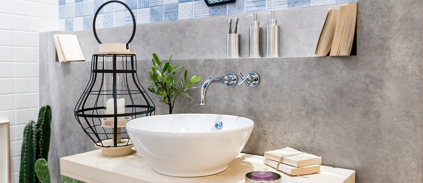 modern bathroom with potted plants and white sink