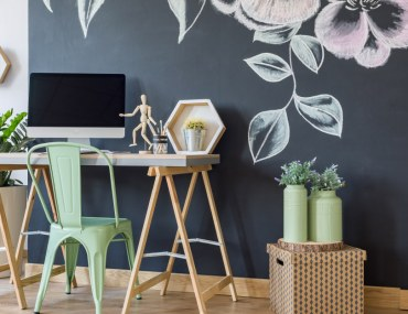 Home office with DIY chalkboard wall