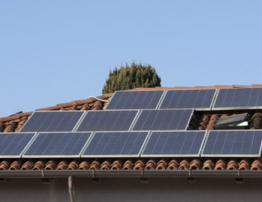 Solar panels installed on a slanted roof