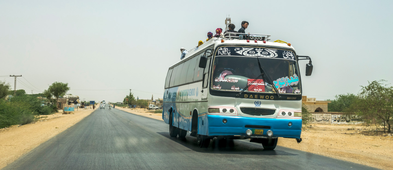 A coach running on a motorway