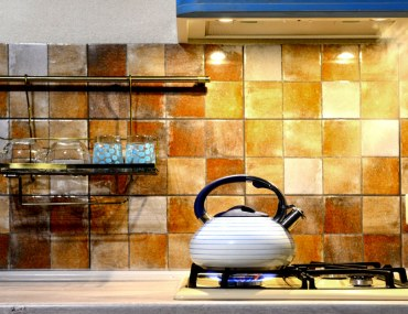 Kettle boiling in a kitchen with modern design