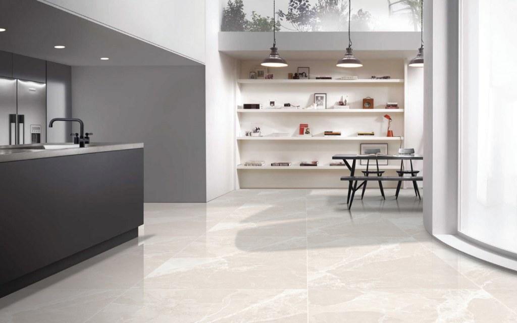 Open kitchen interior with marble floor tiles