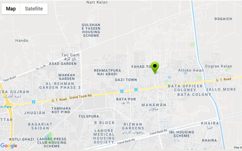 Map showing location of Bismillah Housing Scheme near GT Road in Lahore