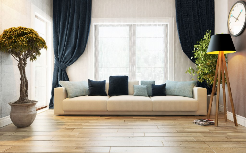 Minimalist living room with white couch and potted plants