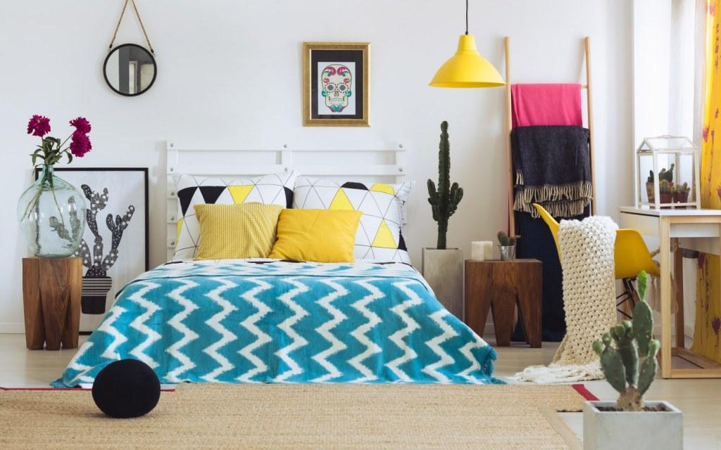 bright colourful bedroom