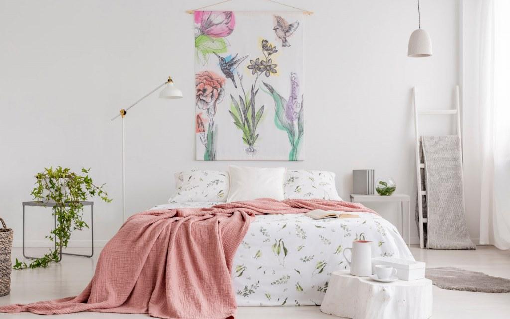 Floral tapestry in bedroom