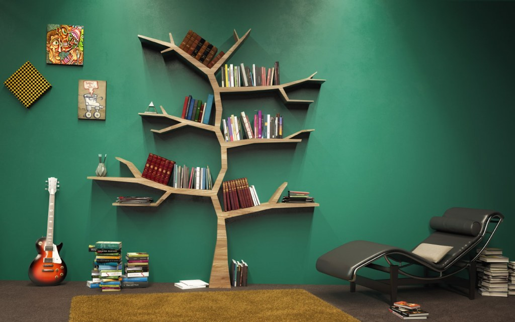 DIY tree shaped bookshelf