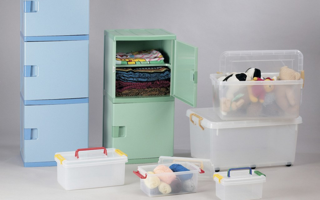 Plastic drawers and boxes for storage and organization