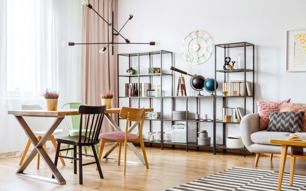 Industrial bookshelf modern apartment decor