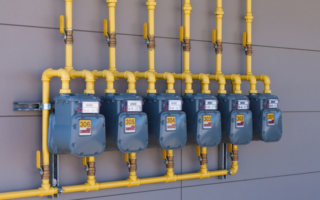gas meters installed outside residential property