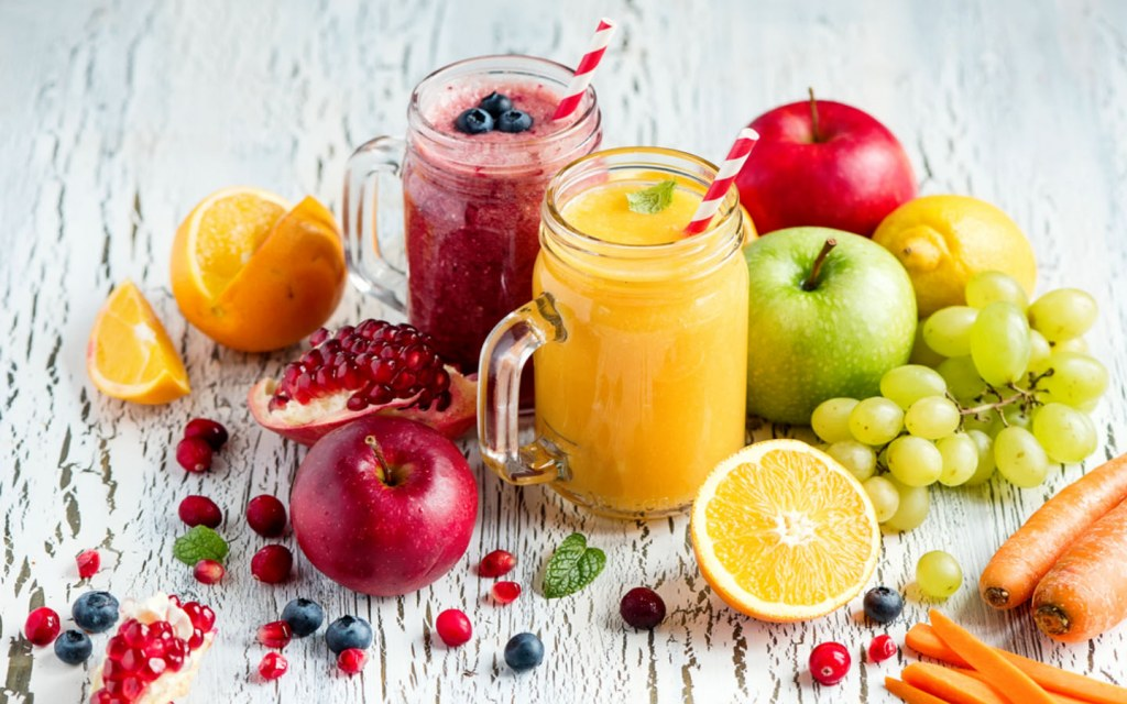 Healthy and nourishing servings of fresh juices