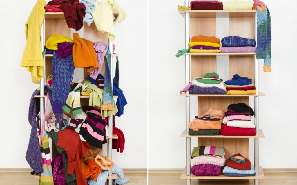 Before and after photo of organized clothes