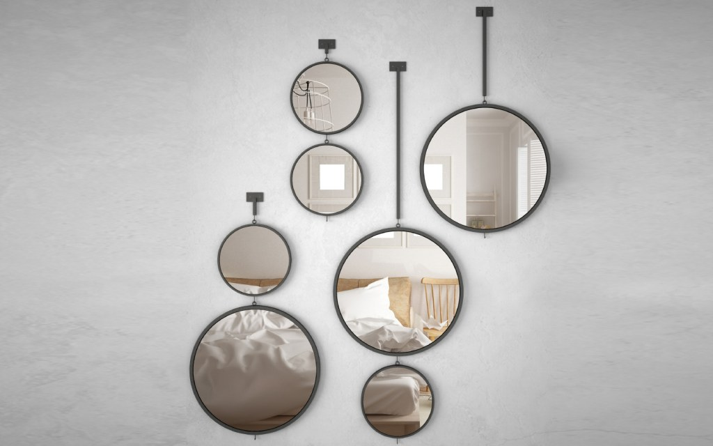 Small mirrors placed on the wall of modern home wall art