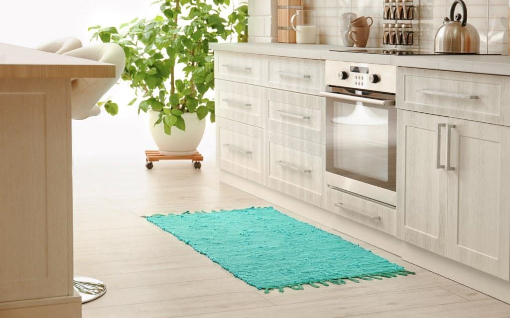 Light blue kitchen rug