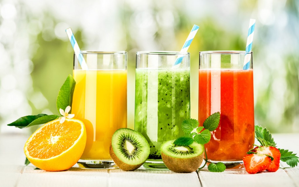 A scrumptious variety of fresh fruit juices