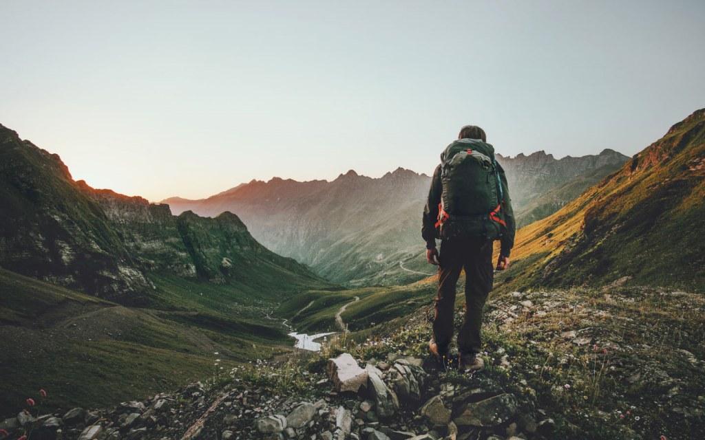 Man Hiking on Mountains