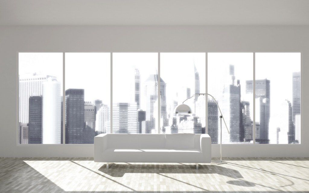 a brightly lit living room in a penthouse