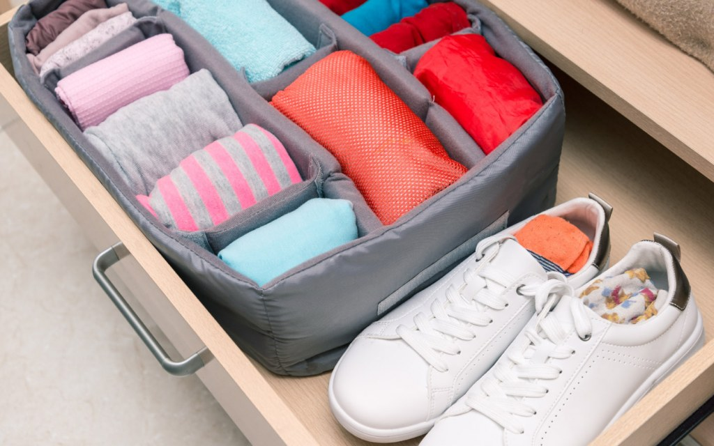 Drawer organizer with clothes and shoes