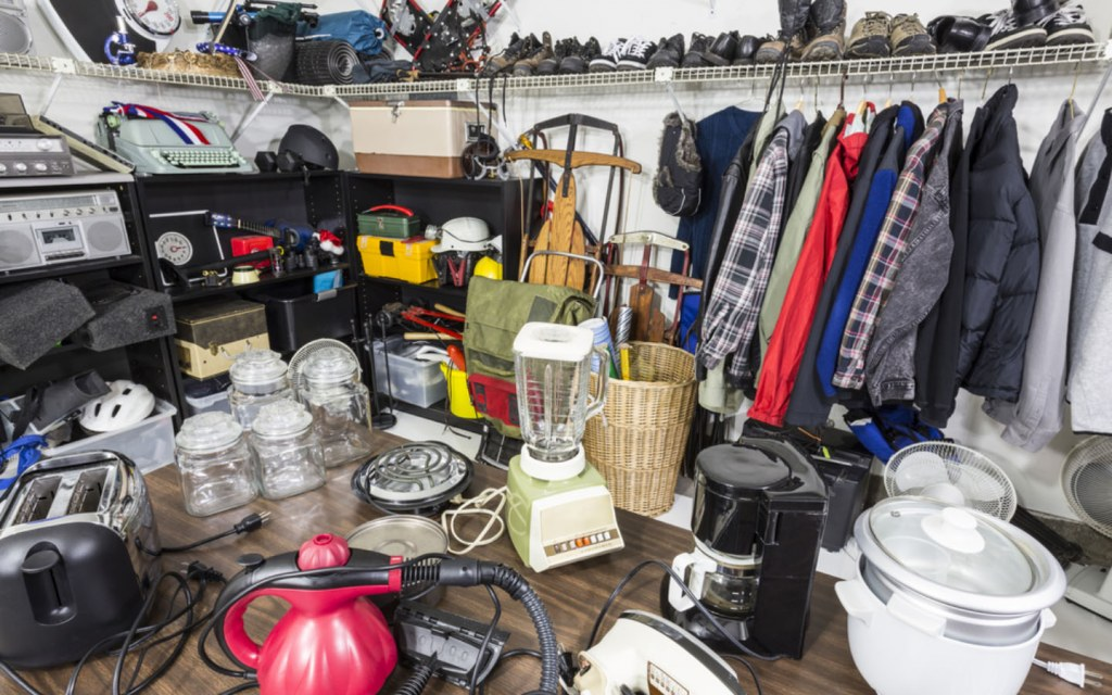 houseware and clothing that have been put on garage sale