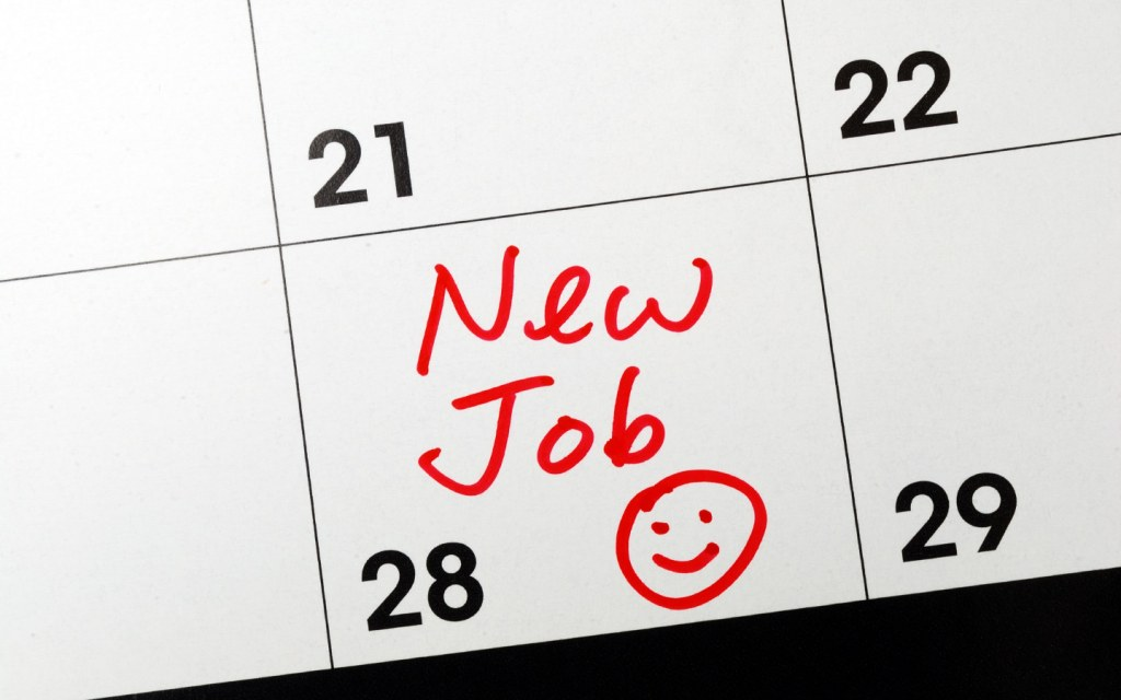 Calendar page marked new job