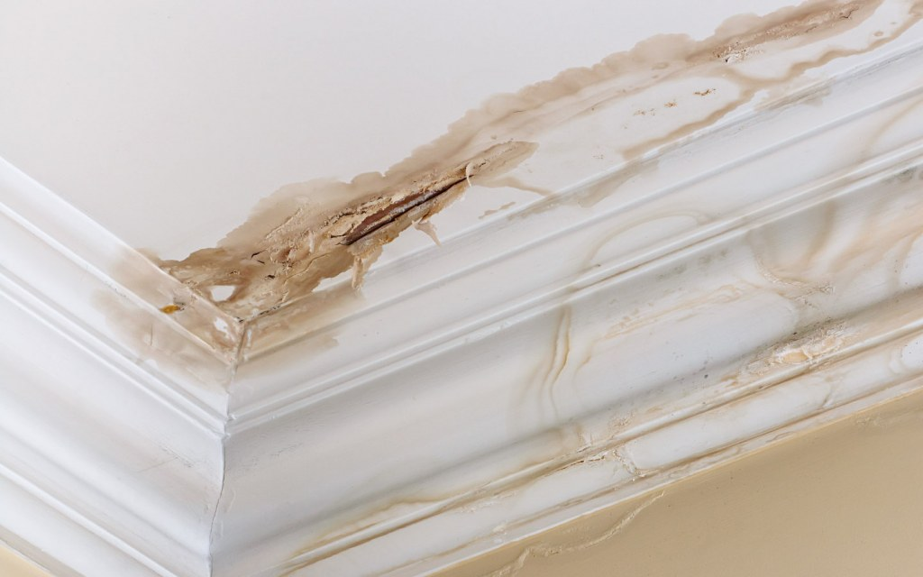 ceiling with water damage and peeling paint