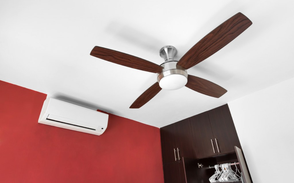 Electric ceiling fan with four blades
