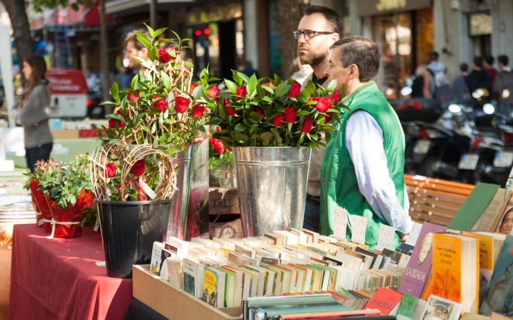 Stall on St. Jordi's Day in Barcelona, Spain