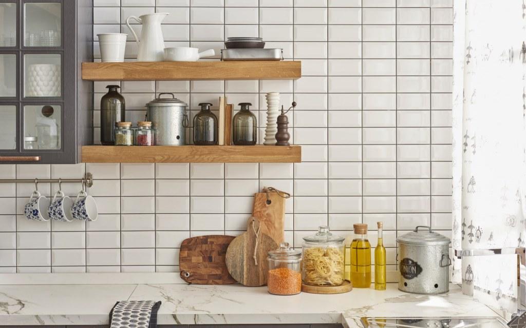 white ceramic subway tiles backsplash in contemporary kitchen