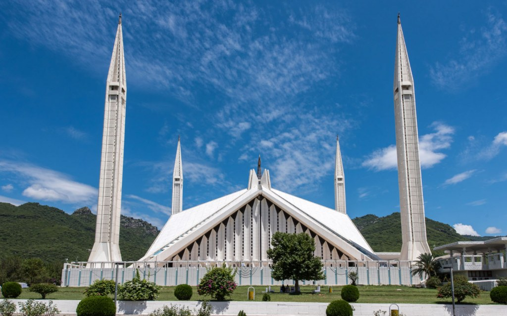 Exterior view of Faisal Mosque in Islamabad