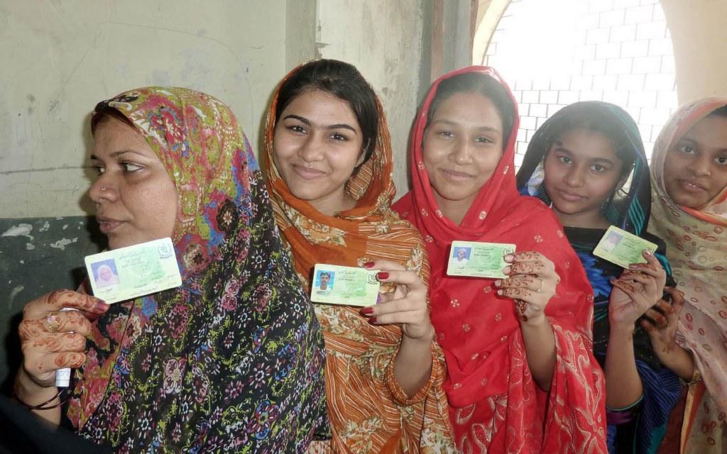Women Holding Pakistani CNIC