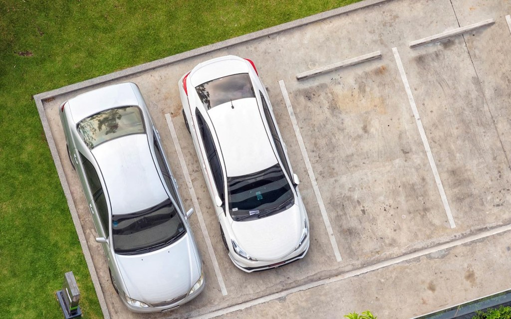 Cars parked outside building