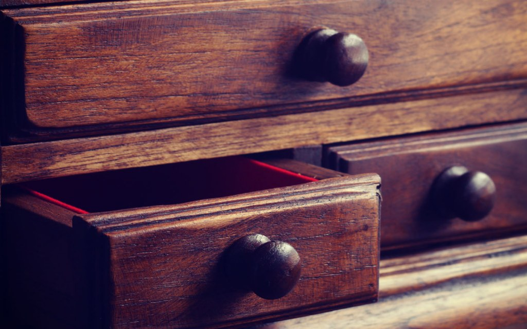 Drawers in vintage wooden furniture