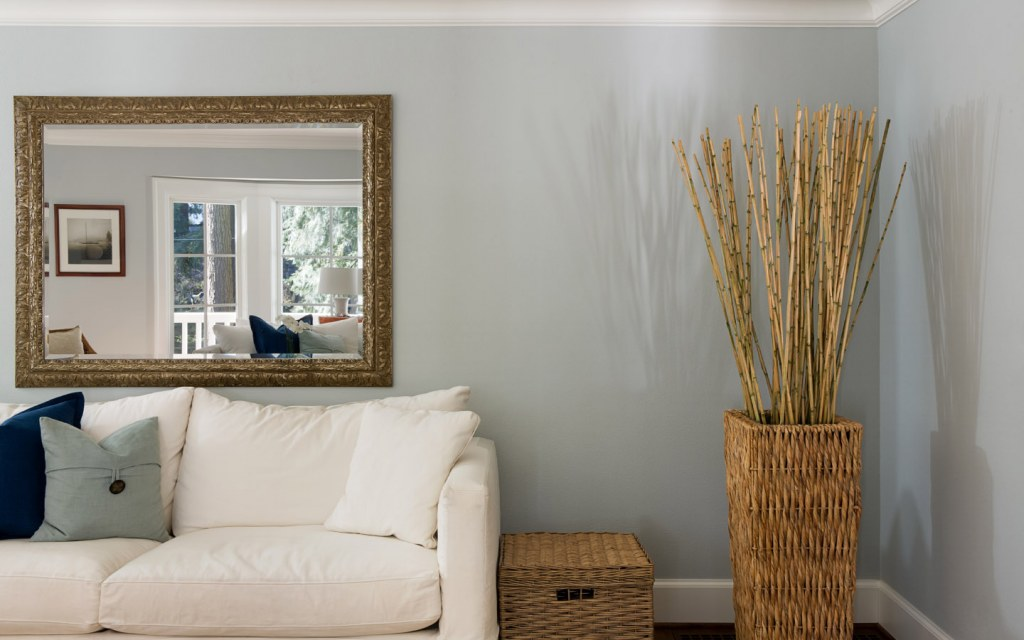A view of a mirror in a living room