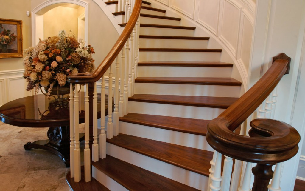 Wooden staircase in a luxury home