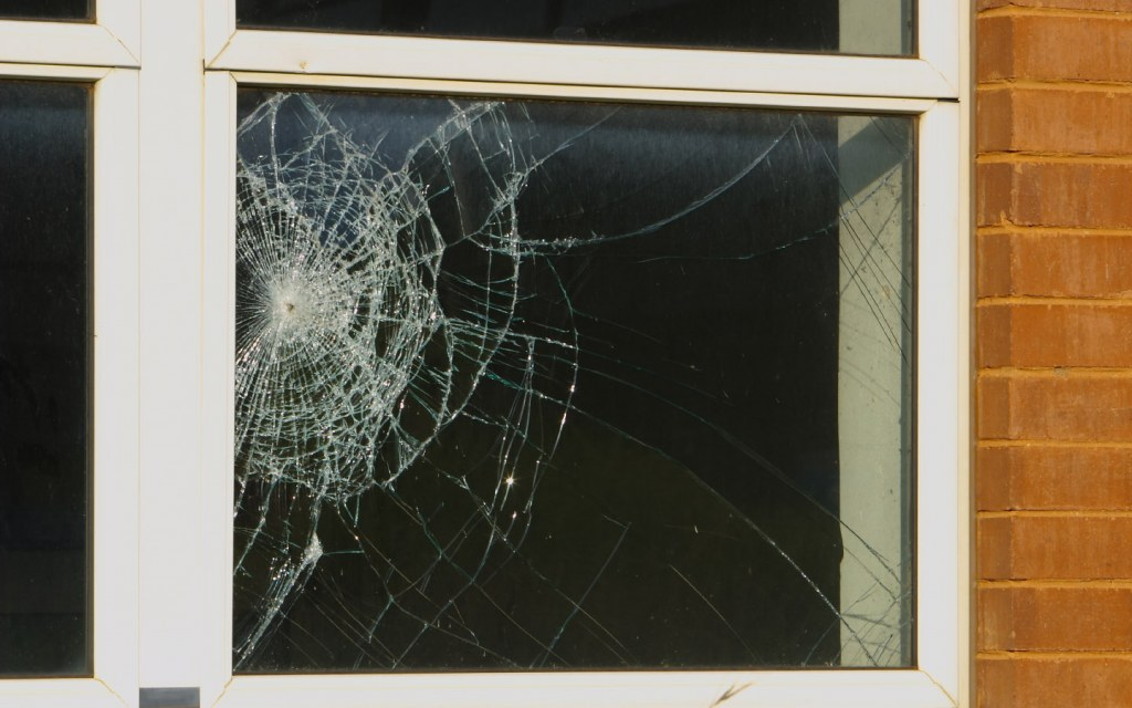Home window with shattered glass