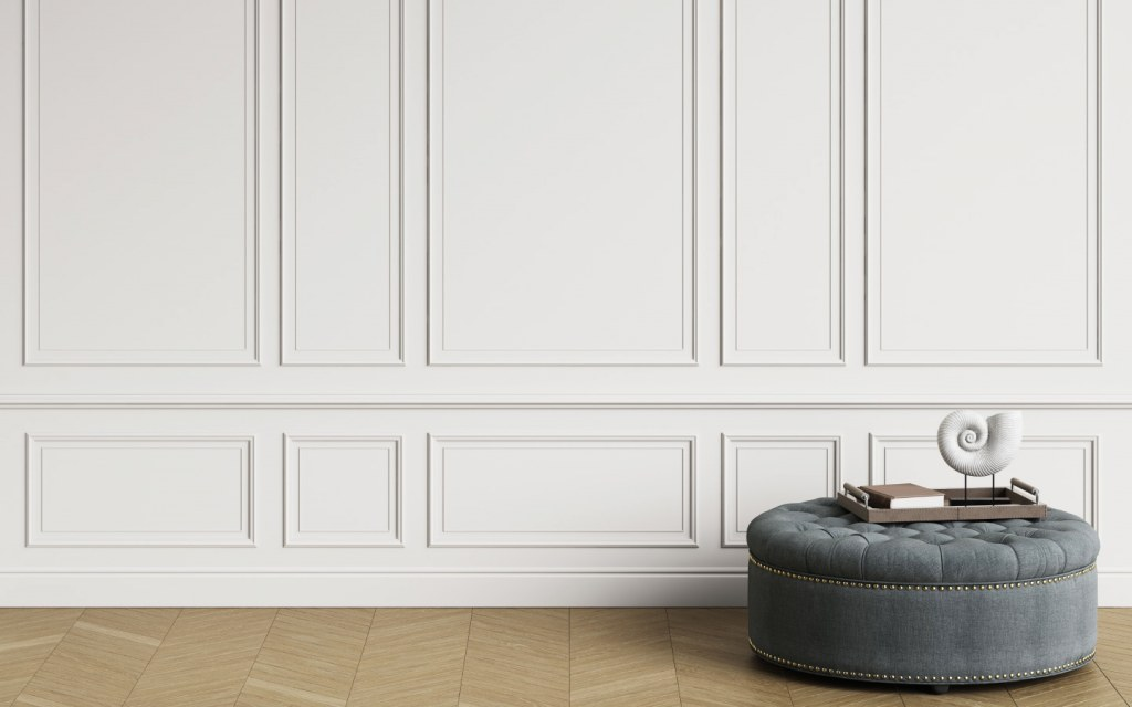 White wall with mouldings