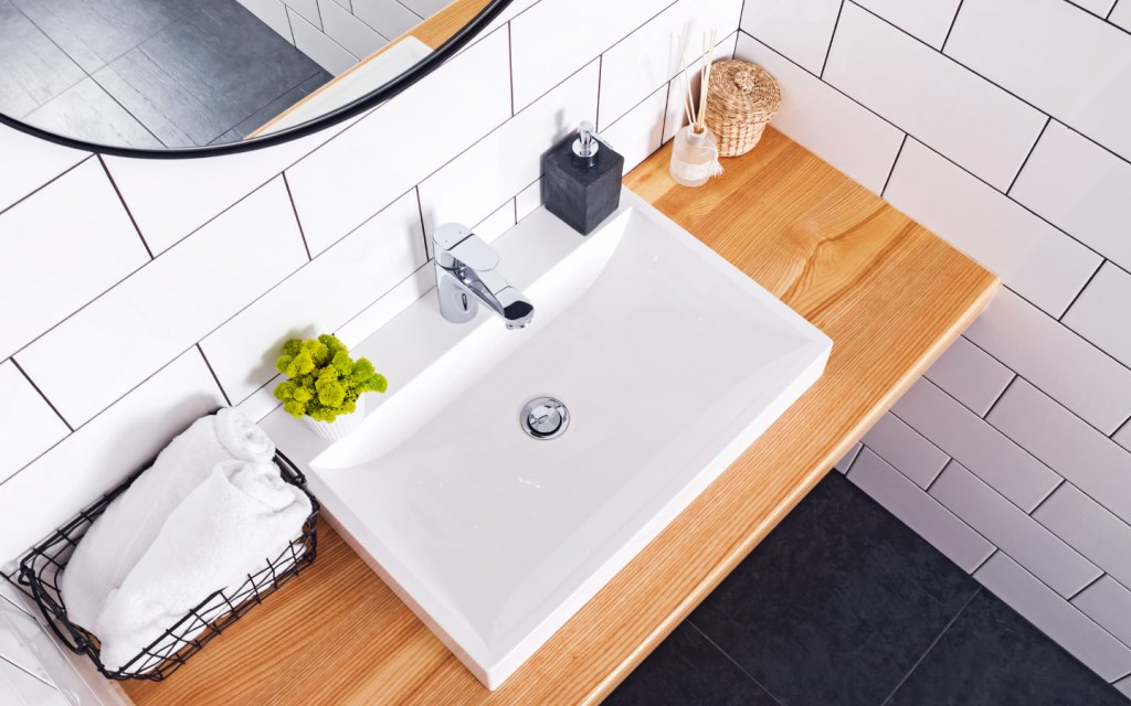 Top view of modern bathroom with white sink