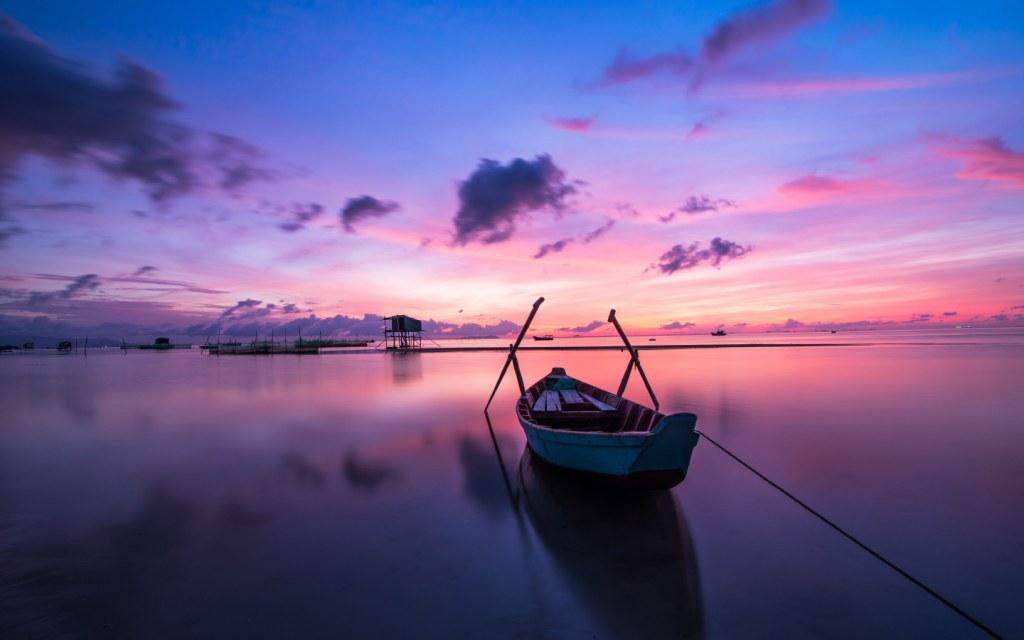 Sun setting at a shore of Vietnam