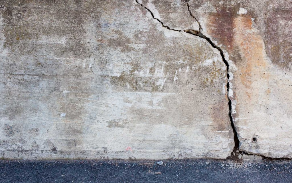 Crack in old concrete wall