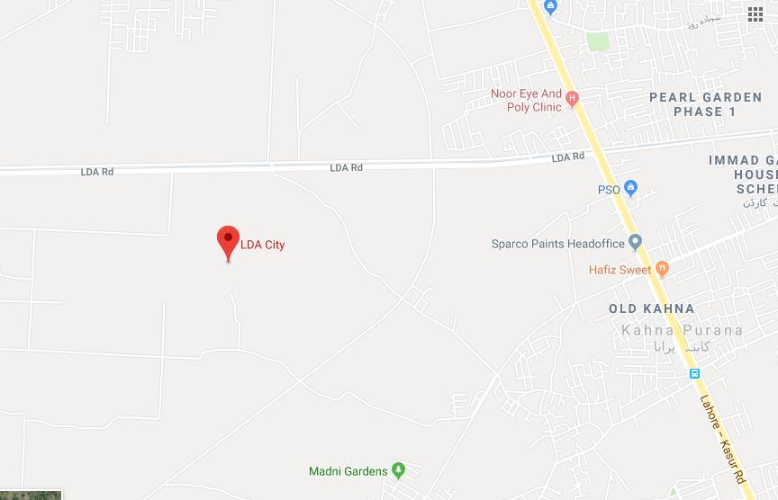 LDA City is located on LDA Road, off Lahore-Kasur Road